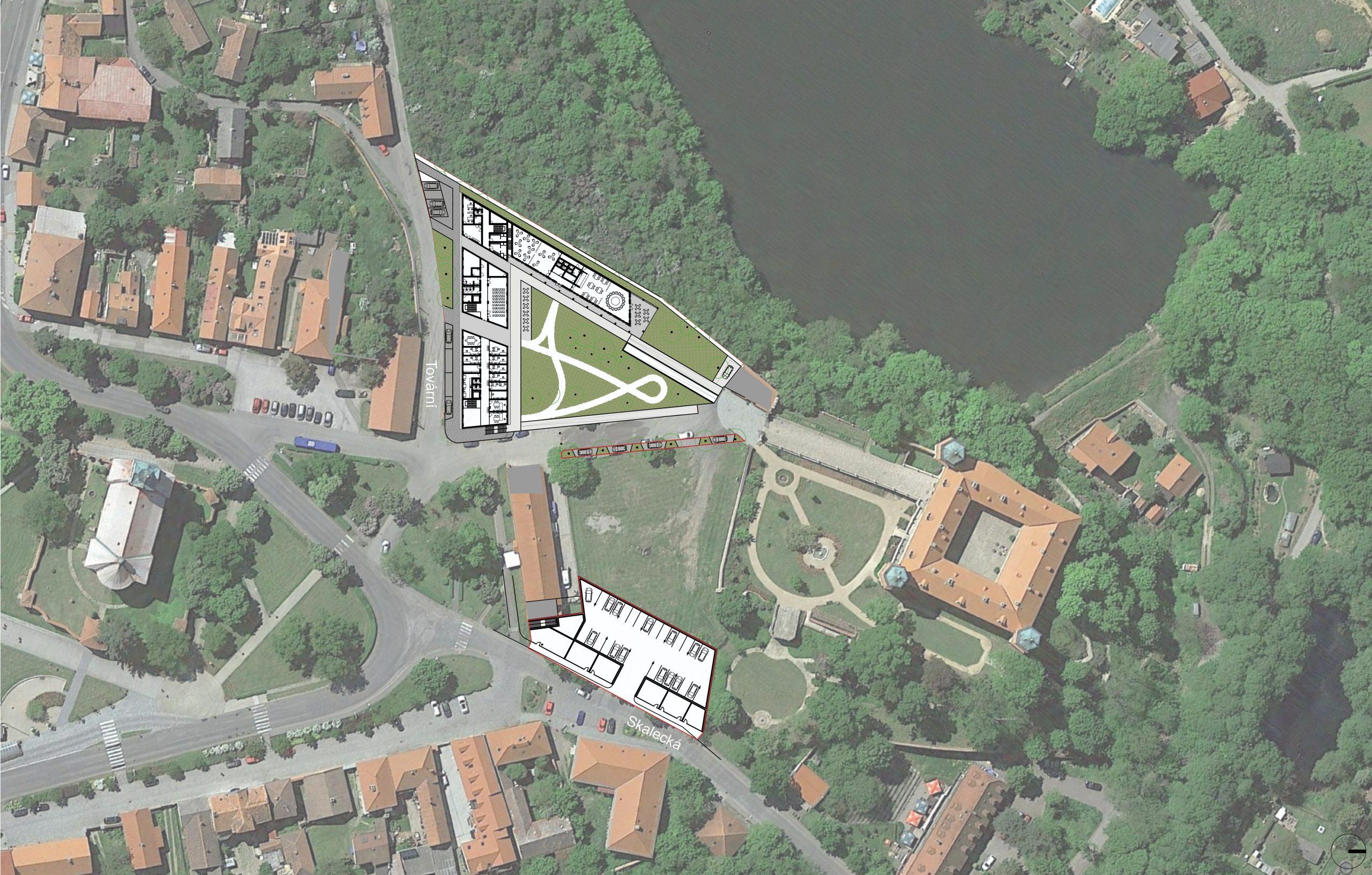 Zákres nových budov v mapě